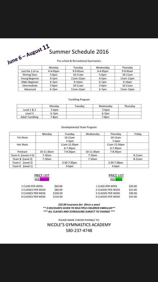 Summer Schedule 2016